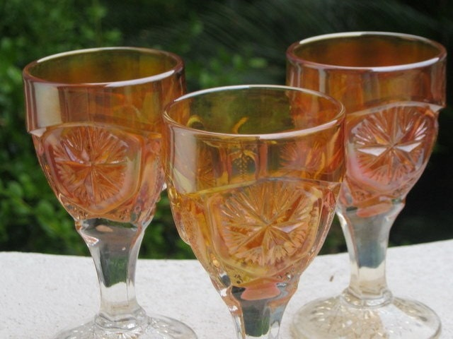 Set of 3 Margold Carnival Glasses - Rare Small Footed Glasses with Starburst Pattern