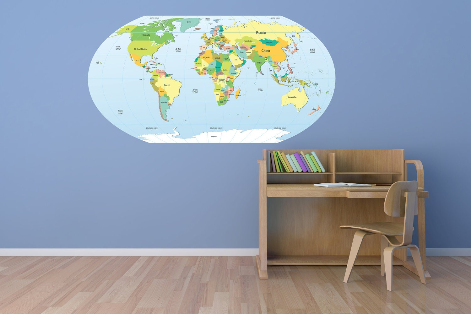 Brewster Wall Pops Peel /& Stick World  Dry-Erase Map with Marker