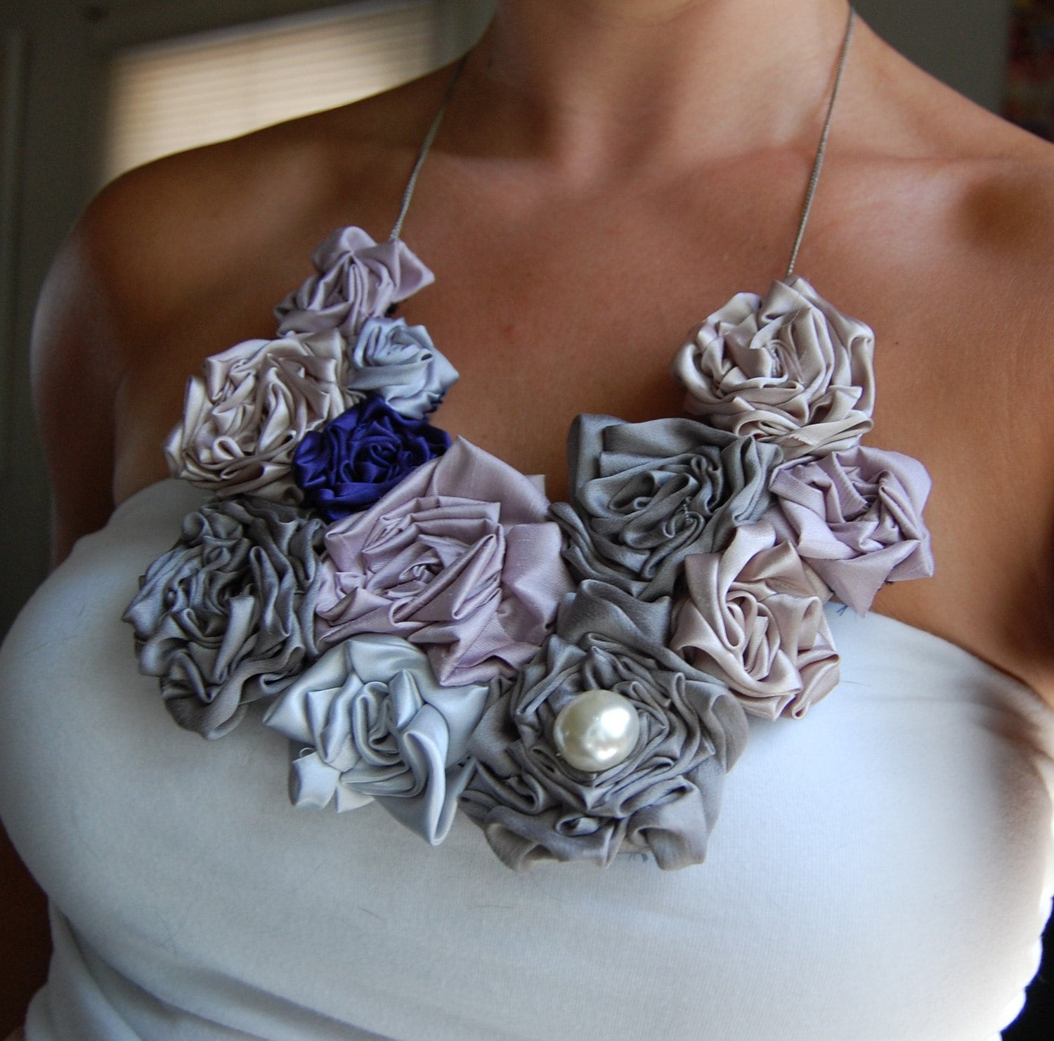 Shades of Gray Bouquet Necklace with Pearl detail