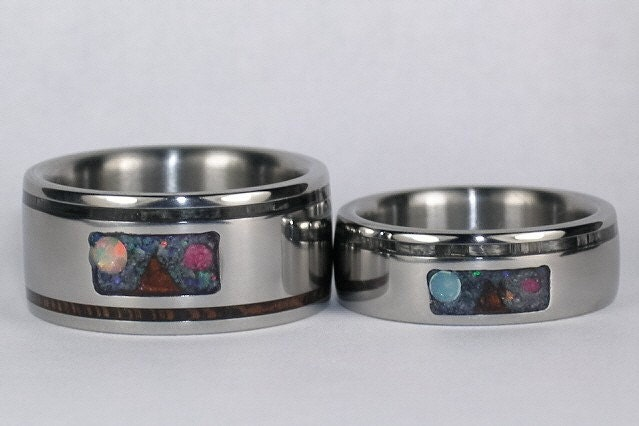 Hawaii Titanium Rings rendition of Maunakea Custom inlay Titanium Ring Set by Hawaiititanium on Etsy