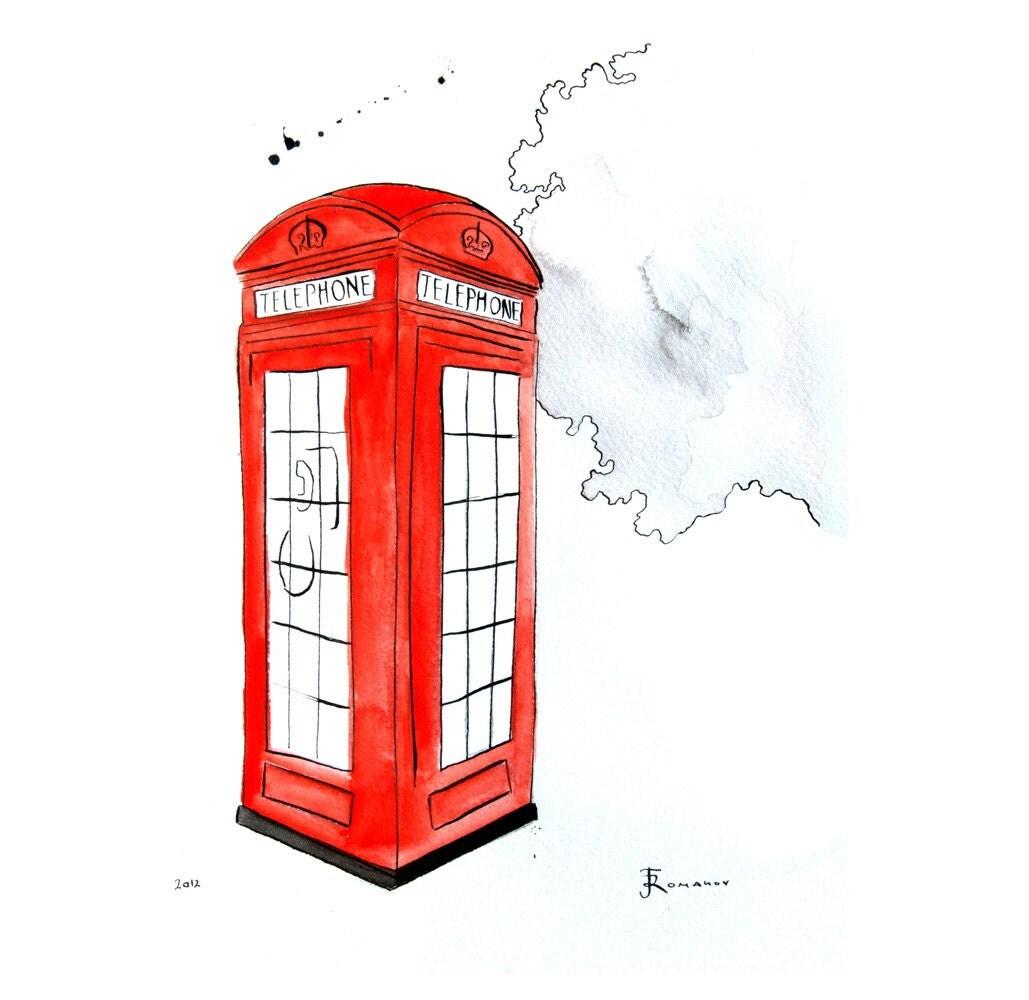 London Telephone Booth - Watercolor Painting - Original Art Print