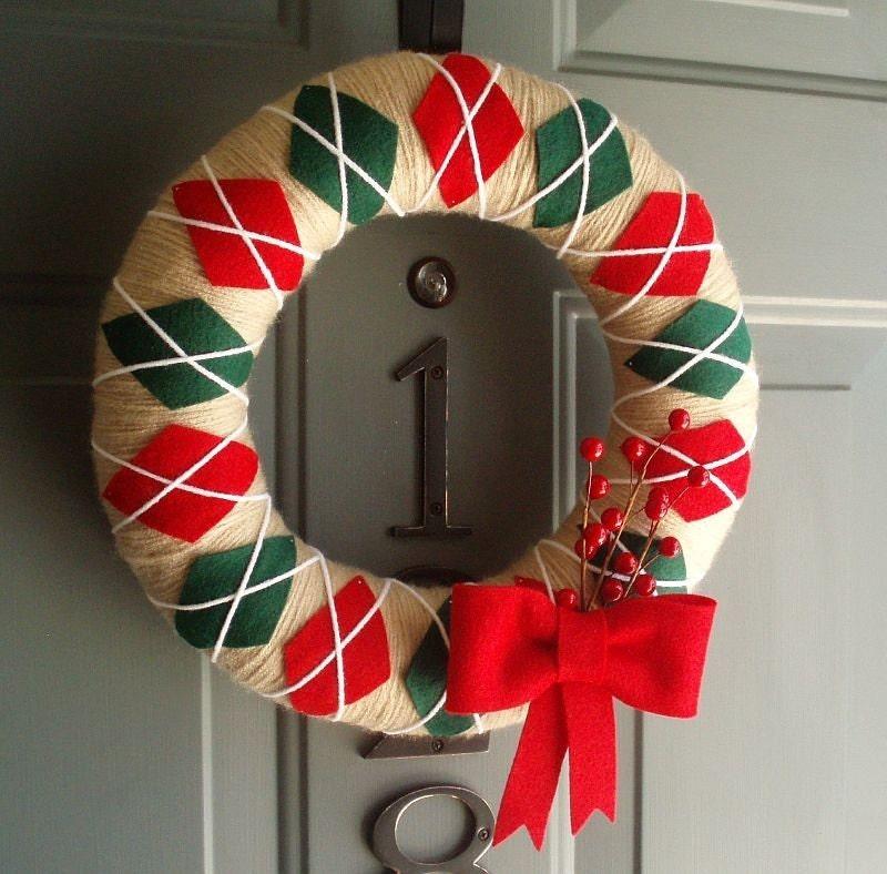 Argyle Yarn Wreath