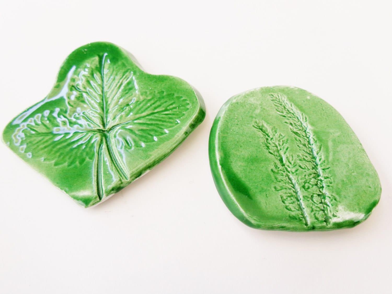 Organic nature herbs imprinted ceramic fridge magnets, spring green pottery home kitchen botanical fridge decor magnets - set of 2