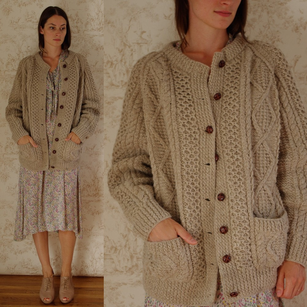 Vintage Oversized Chunky Irish Cable Knit Cardigan Sweater Jacket, S, M, L