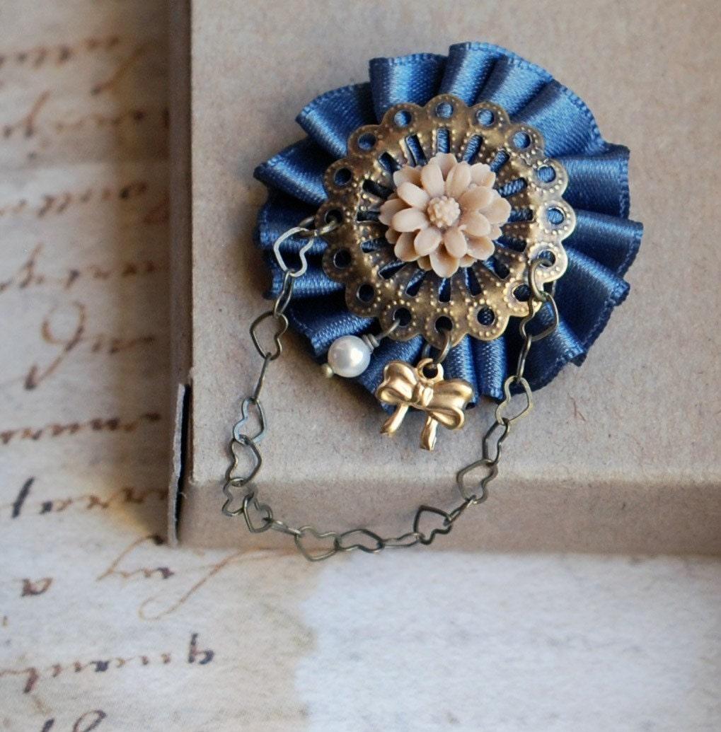 Charlotte Brooch. Little Brass Bow. Gray ribbon