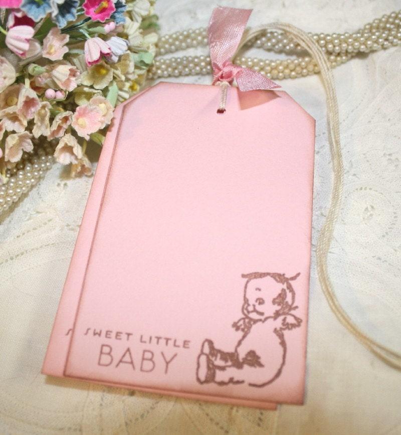 baby shower wish tree tags kewpie sweet little baby in pink set