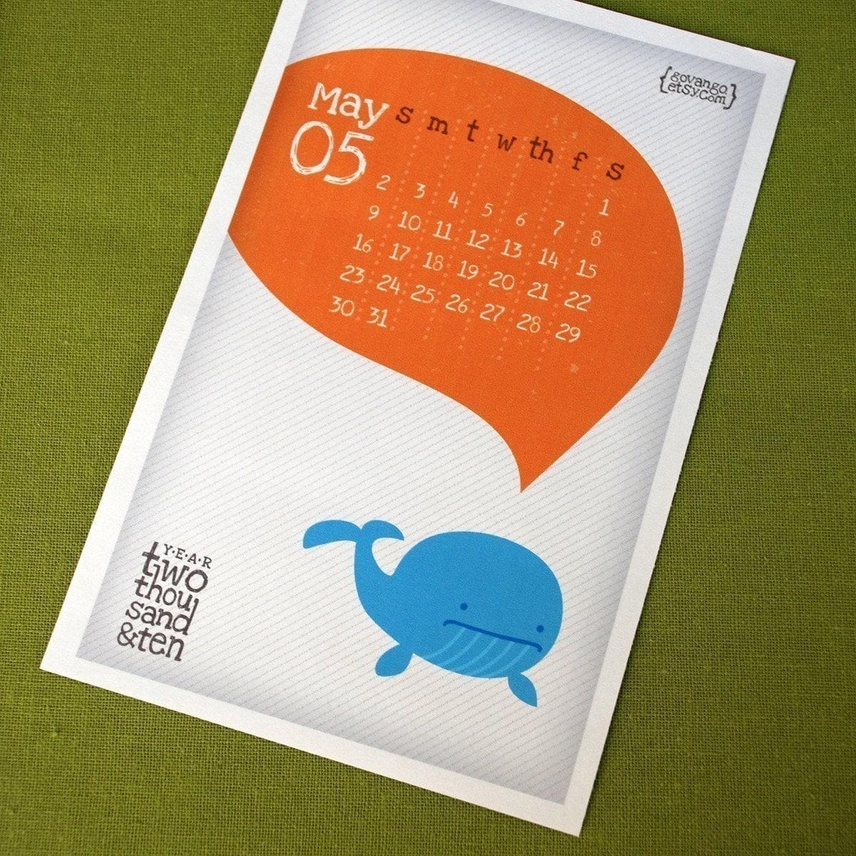 Cute Creatures Calendar 2010 2011 Printable Digital PDF Kawaii Yearly Month