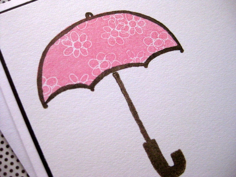 Oh Happy Day - A Baby is on the Way with Pink Flower Umbrella - Handmade Eco-friendly Baby Shower Card