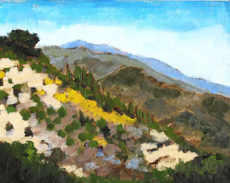 Santa Barbara California Painting Mountain Landscape