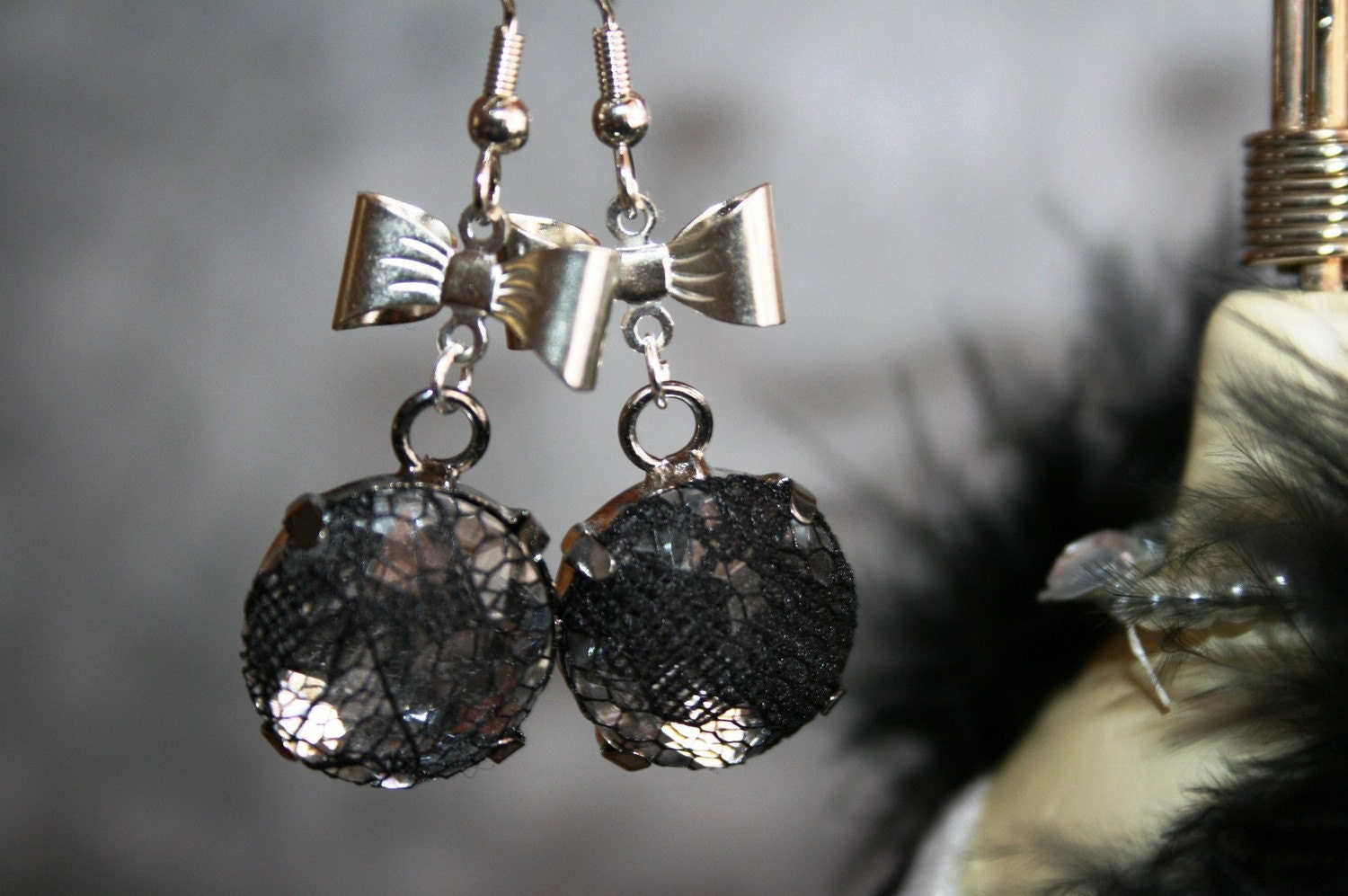 Sale 20% Off Black Lace and Silver Bows Dangle Earrings