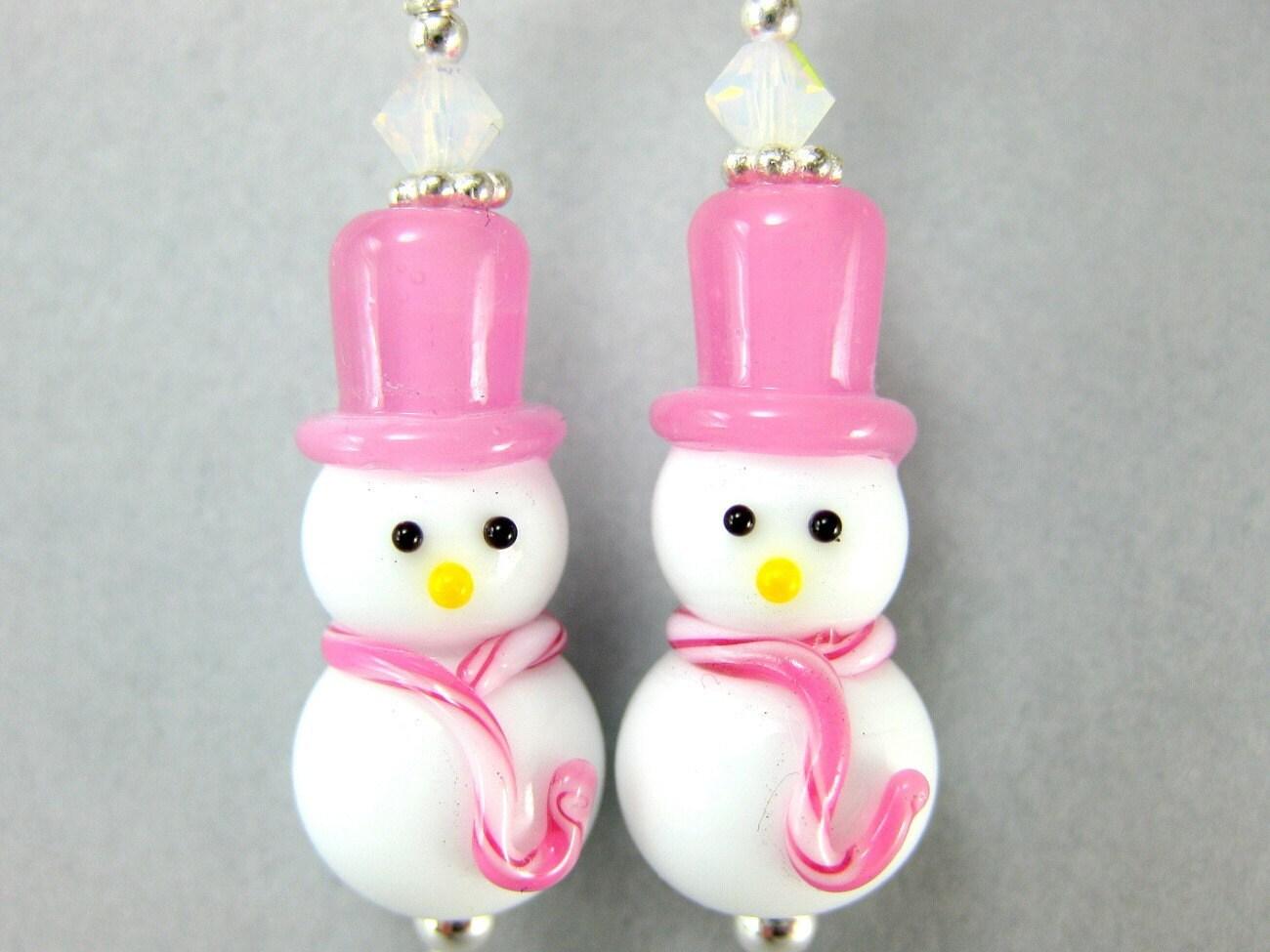Earrings Pink White Snowman Lampwork Crystal Sterling Silver - Crystal