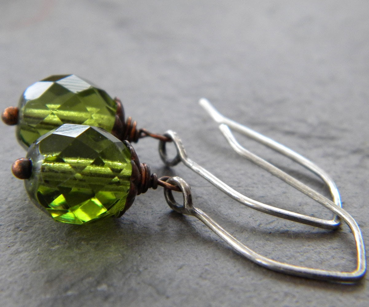 SALE - Dark Olive Green Faceted Glass - Oxidized Copper - Antiqued Sterling Silver Earrings