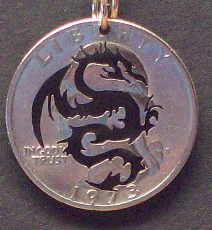 Dragon Rampant Hand Cut Coin Jewelry