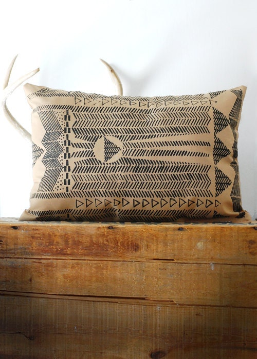 Going Hunting -  Black and Cornstalk - Modern Hand Printed Pillow - by Bark Decor - barkdecor