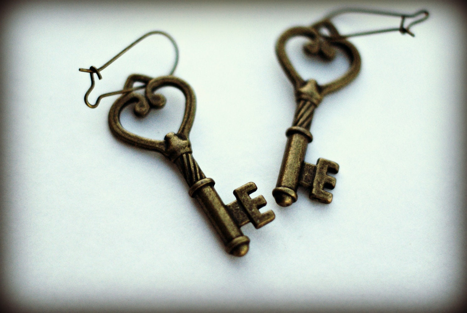 Bronze Skeleton Key Earrings