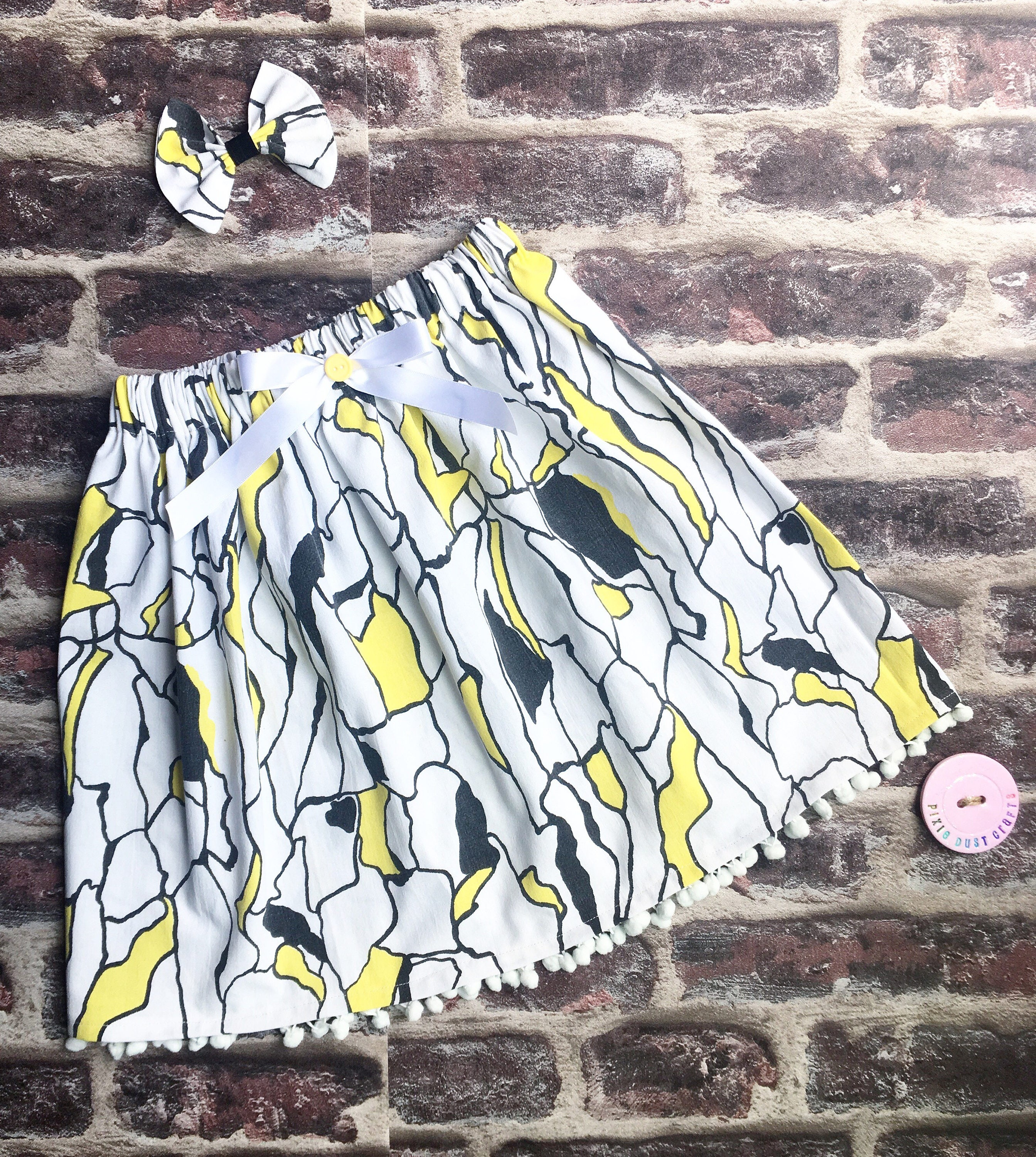 Vintage 60s skirt pop art skirt girls vintage skirt pom pom skirt funky retro skirt retro baby skirt cool baby gift retro girl skirt