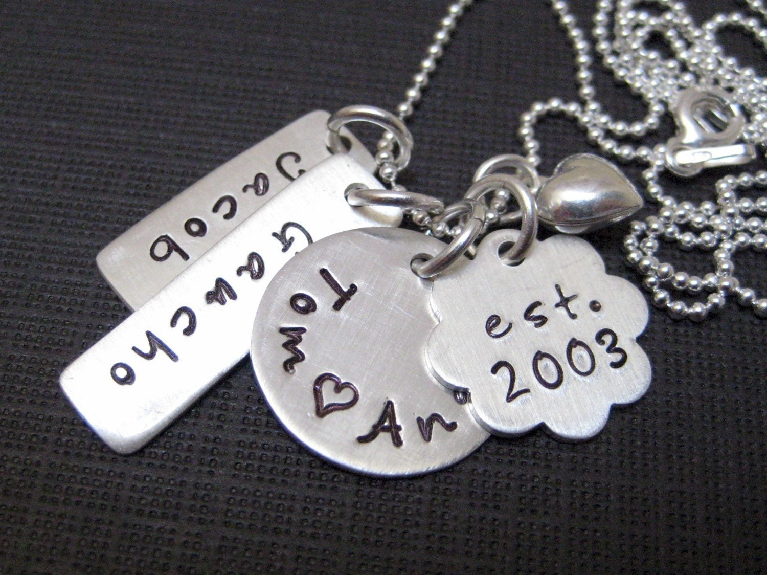 Perfect Mothers Day Gift - My Family - Four or Five Name Hand Stamped
