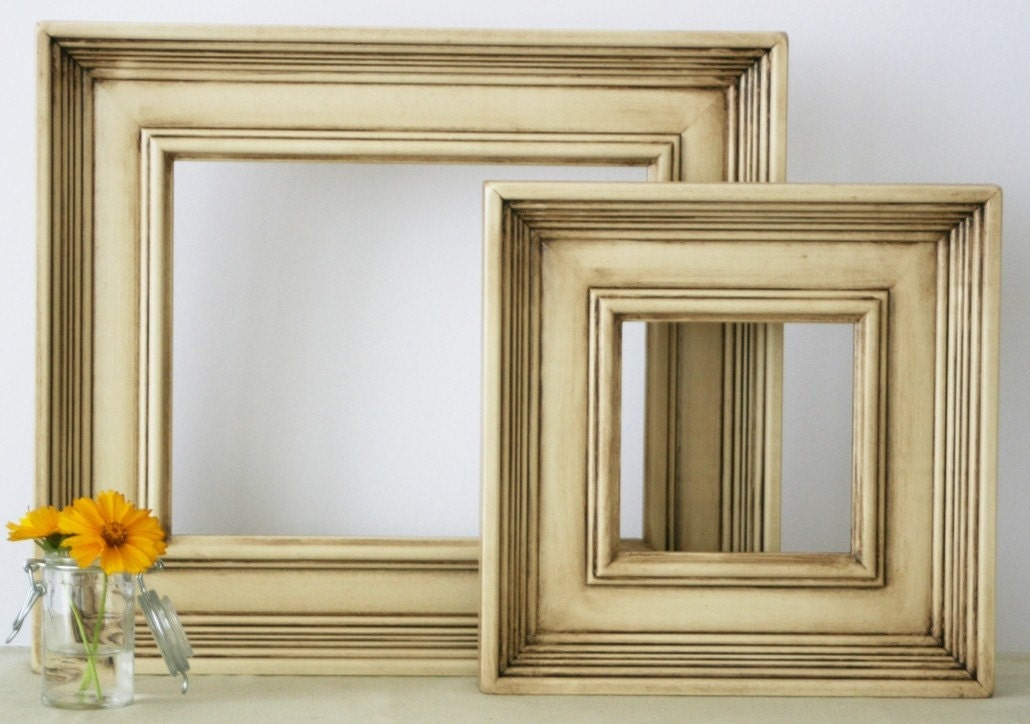 12x16 Wide Picture Frame / Antique Ivory on Empire