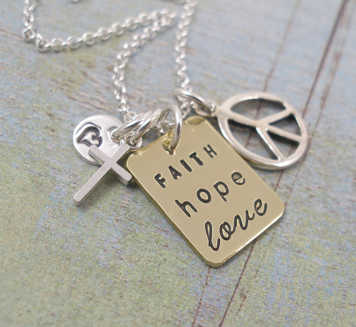 FAITH, HOPE and LOVE.............Hand Stamped Brass and Sterling Silver Charm Necklace