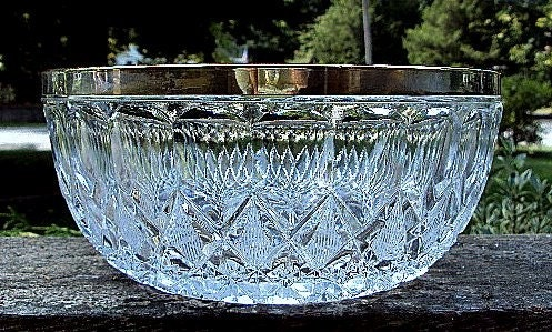 Donnas Heavy Brilliant Glass Bowl with Silverplate Rim