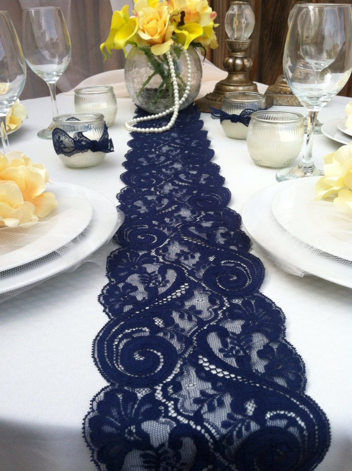 Navy Blue Lace Table Runner Weddings Decor 2 By