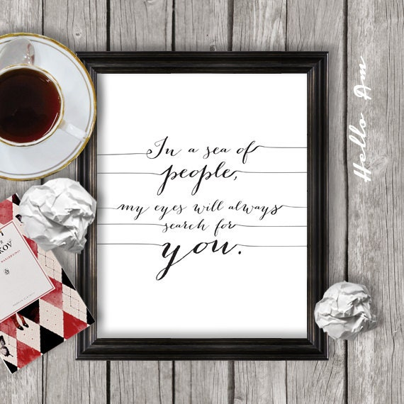 Framed Love Wall Decor : Love quote print printable wall decor framed by