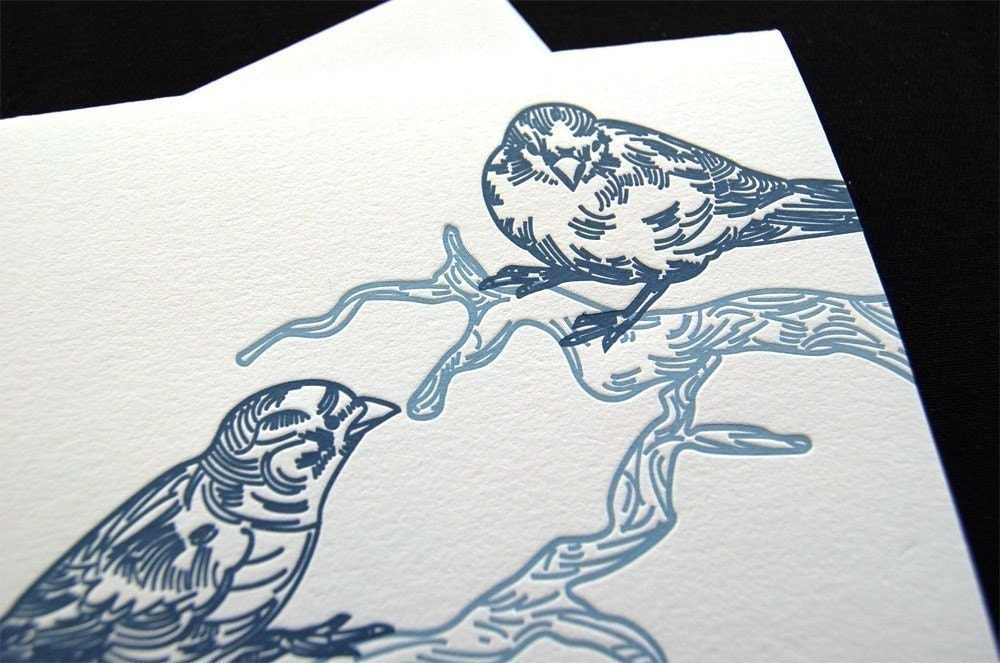 Letterpress greeting card, blue birds