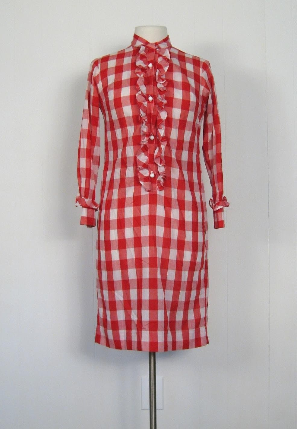 Vintage 1960s Red GINGHAM Ruffles Picnic Dress S