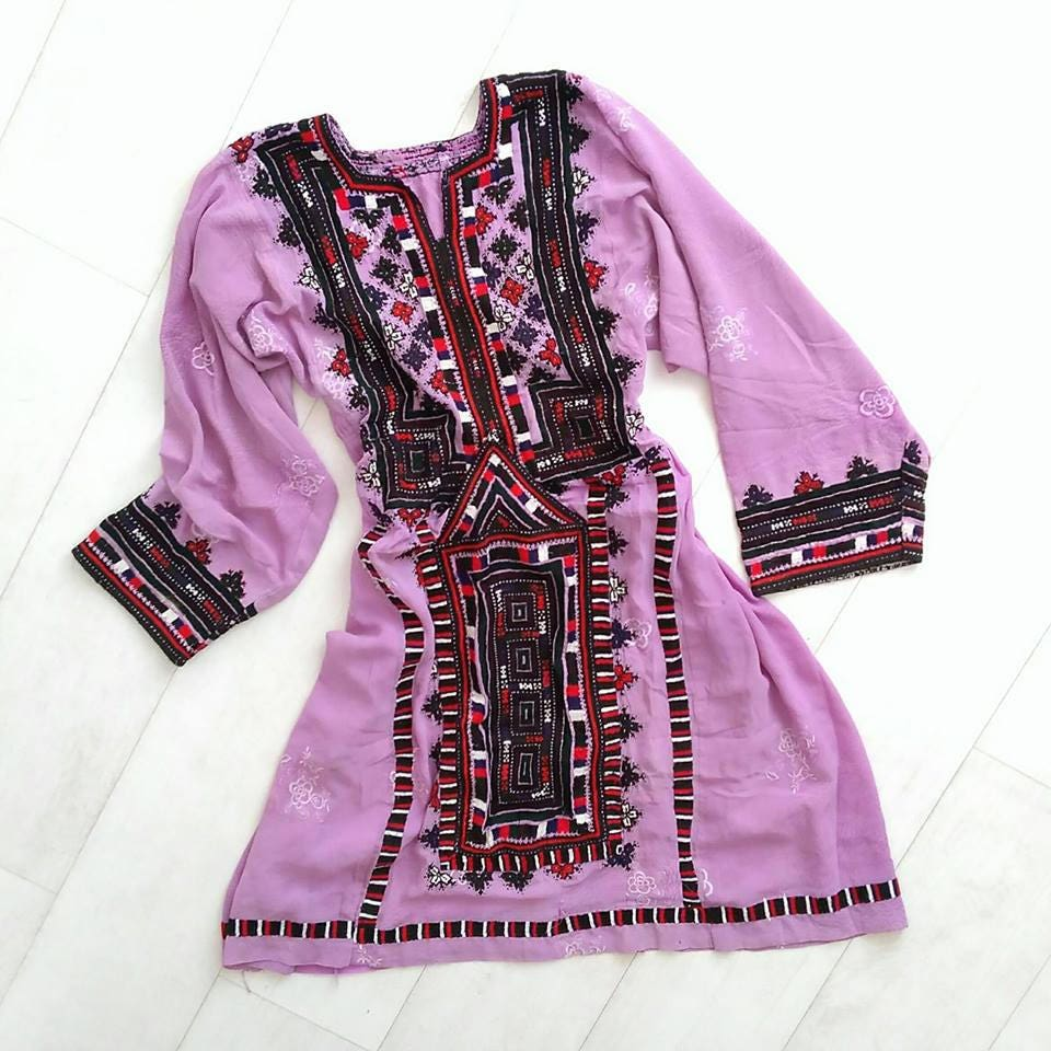 Oneoff Genuine Vintage Embroidered Handcrafted Bohemian Gypsy Tribal Dress  Boho Festival Dress Mauve