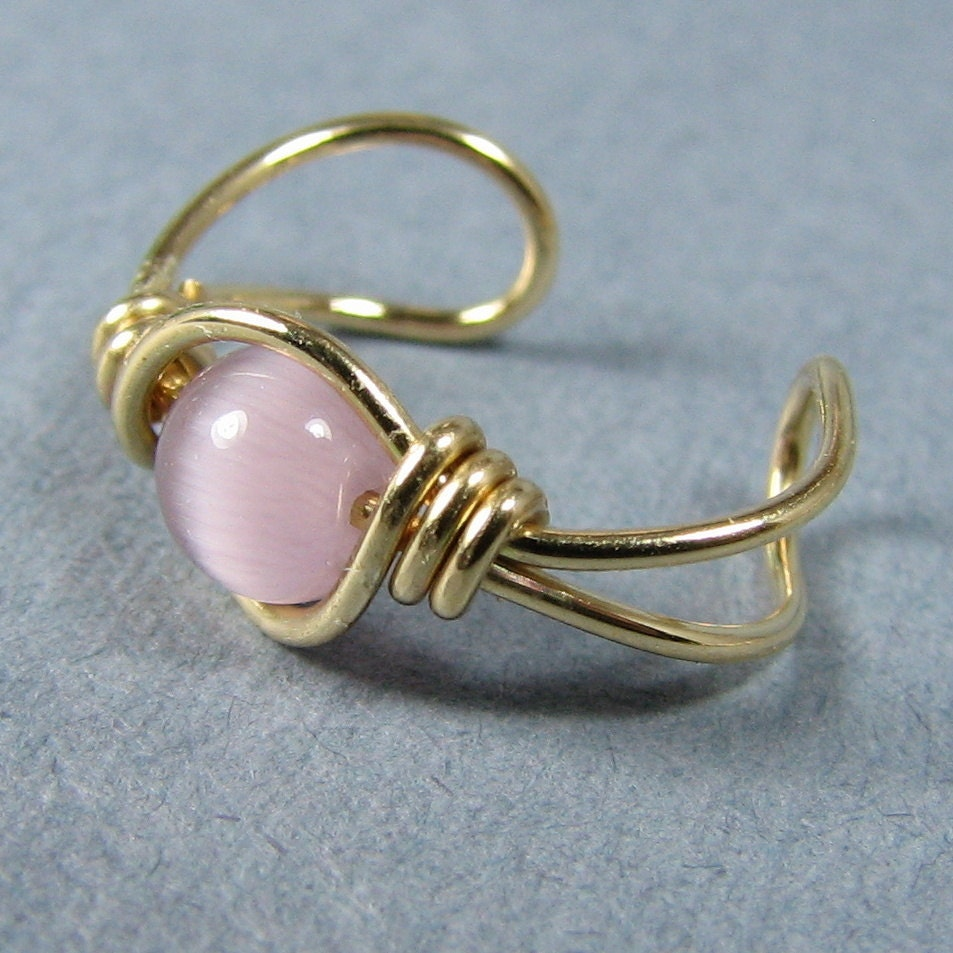14k Gold Filled Ear Cuff Mauve Cats Eye