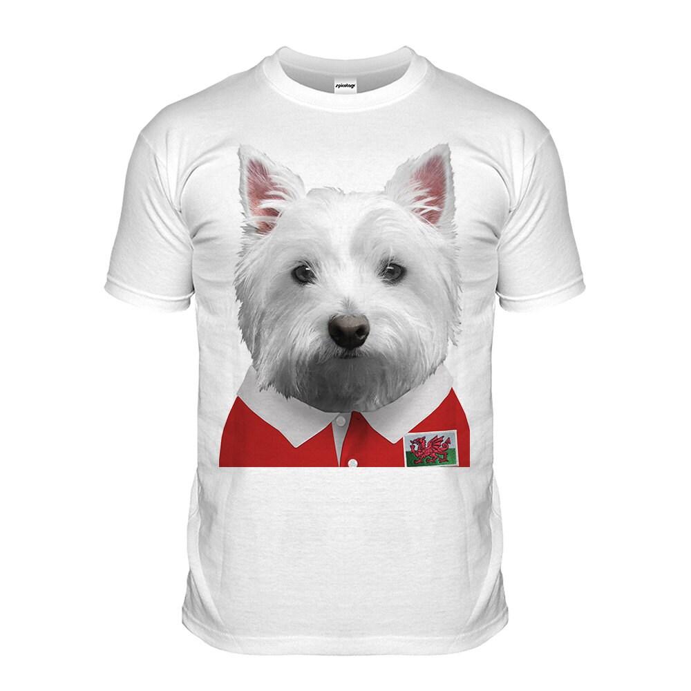 Wales Rugby Tshirt Westie Tshirt Welsh Puppy Top Scotty Dog Grand Slam Shirt Funny Animal Tee Cute Fashion Womens Mens Kids Cymru Dragon