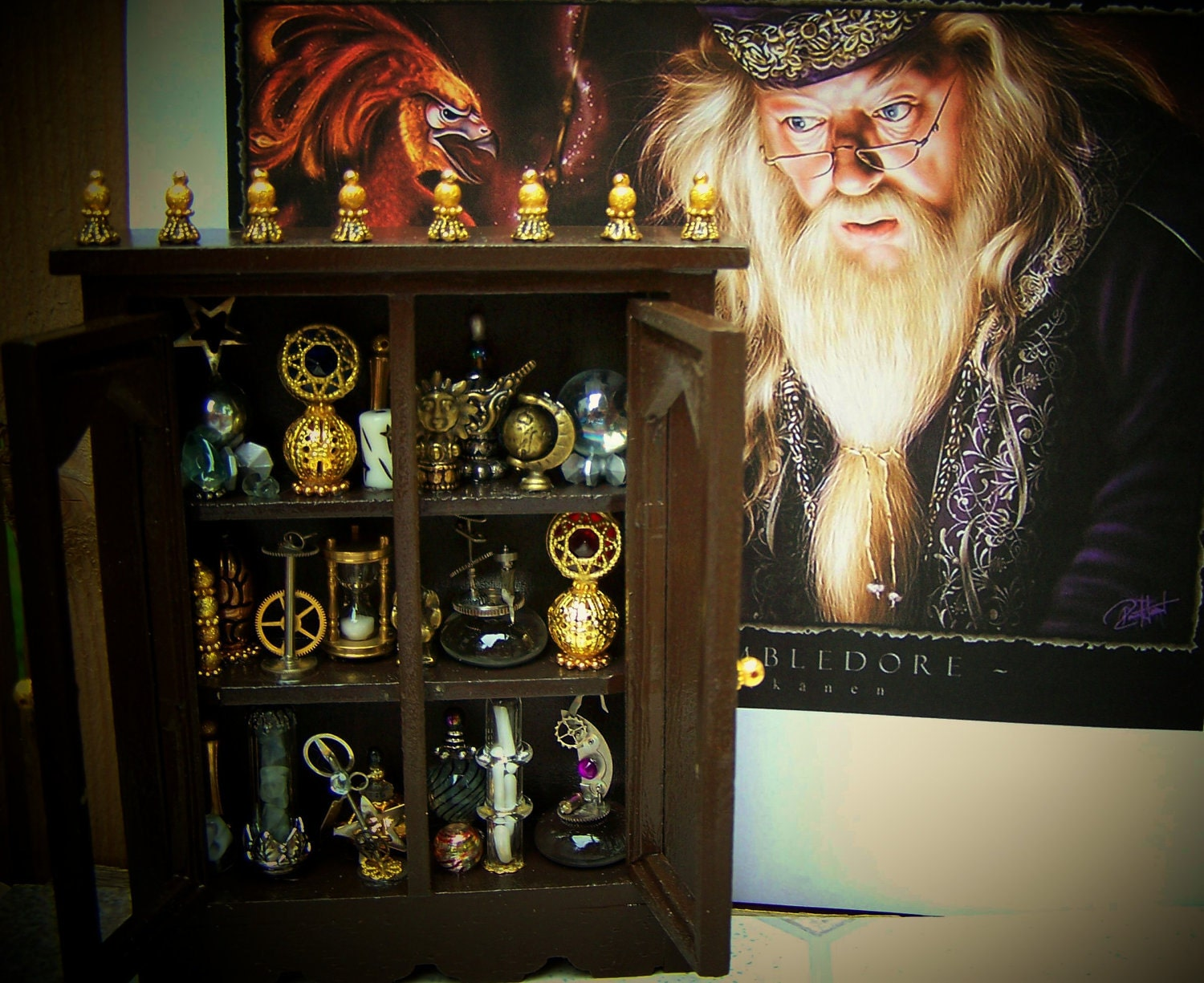 Dollhouse Miniature Harry Potter Dumbledore's Study Cabinet Layaway Available