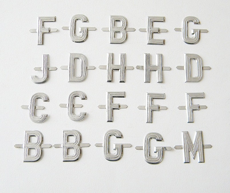 vintage thin metal letters 120 small letters by thehopetree With thin metal letters