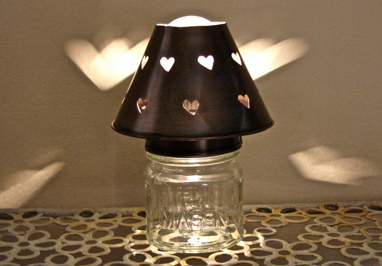 square mason jar heart shade night light or accent lamp antiqued. Black Bedroom Furniture Sets. Home Design Ideas