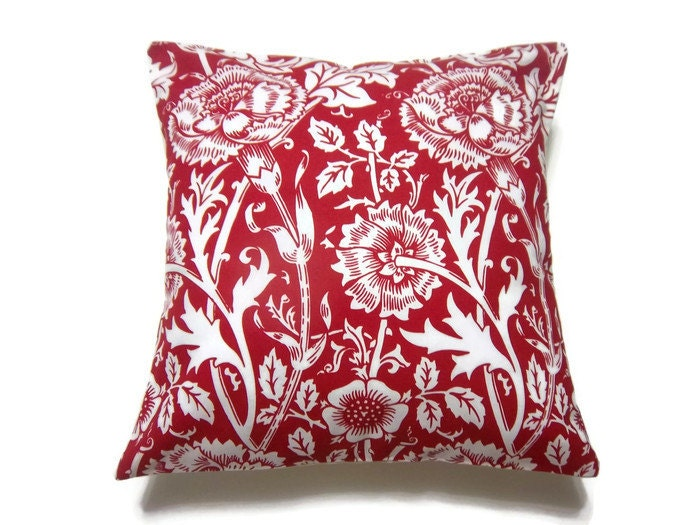 items similar to decorative pillow cover red white floral handmade toss throw accent pillow. Black Bedroom Furniture Sets. Home Design Ideas