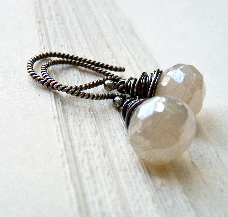Mystic Pearl Chalcedony Earrings - Handmade Oxidized Sterling Silver and Mystic Pearl Chalcedony Onion Earrings