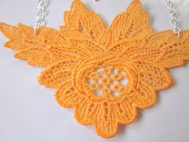 Hand Dyed Applique Neck.Lace in Goldenrod