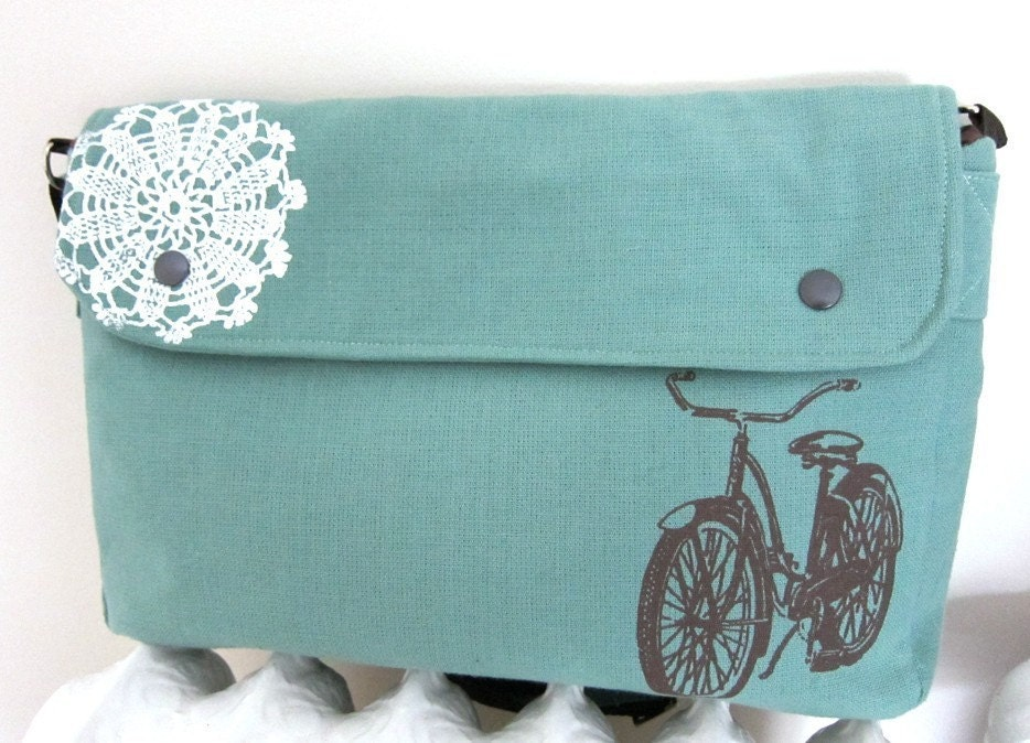 Messenger Bag in Seafoam with a Vintage Bicycle and Doily