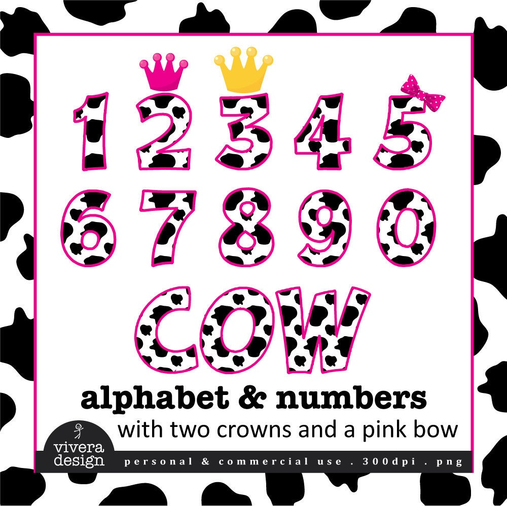 Digital Clip Art Cow Letters And Numbers With Hot By