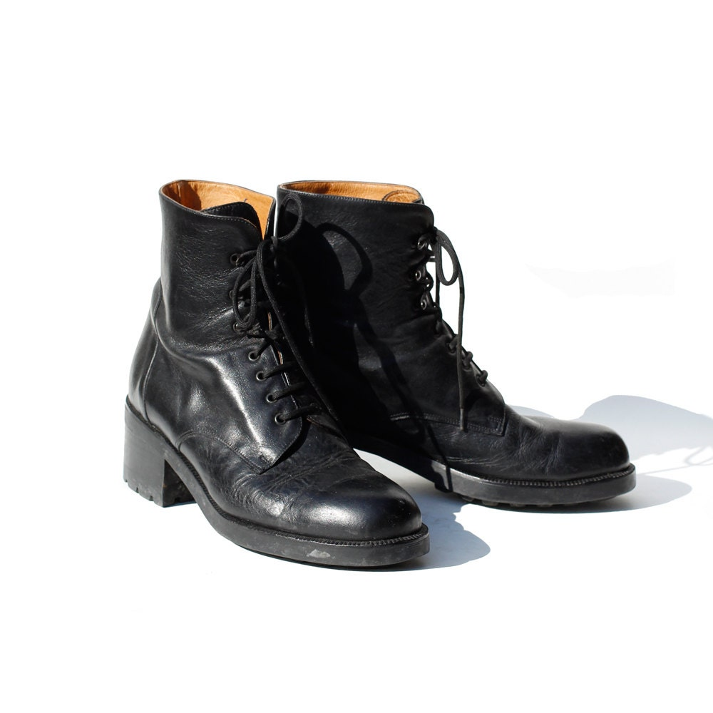 size 7 italian black leather ankle boots by tanakavintage