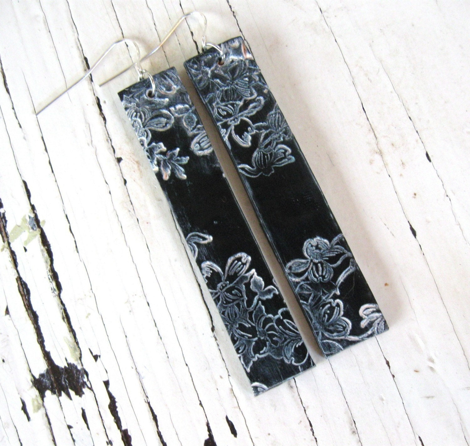 Long black earrings Asian floral design, handmade jewelry by theshagbag on Etsy
