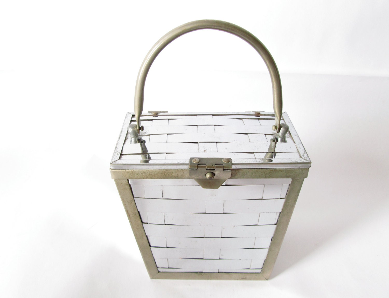 vintage 50s reflective silver basket weave bag. - GinnyandHarriot