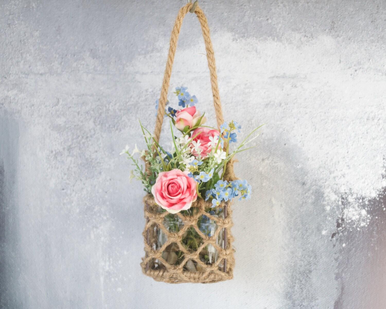 Hanging Vase  Hanging Rope Vase  Hanging basket  Floral bouquet vase  Rope Vase  Natural vase  Floral display  Hanging floral bouquet
