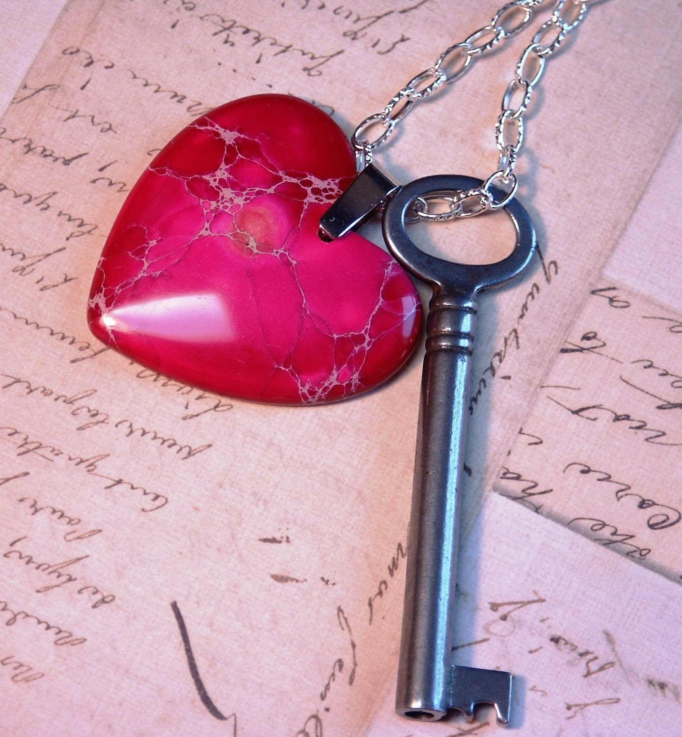 "Antique Skeleton Key Necklace-  Red/Pink Mix Variscite Heart Pendant- 24"" Chain- Valentines Day - One Of A Kind"