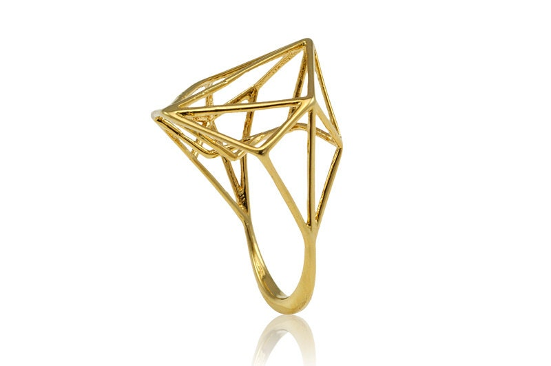 Geometric Yellow Gold Ring, 14K Geometric Ring, Free Shipping - osnatharnoy