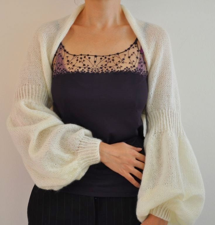 Made to Order Handmade Romantic Balloon Sleeved Mohair Shrug - Bridal Shrug