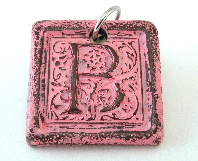 Pretty Pink - Distressed Monogram Pendant