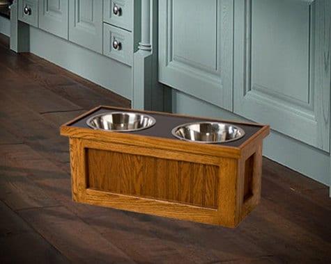 Dog Feeder High Elevated Raised Food Bowl Feed Oak By