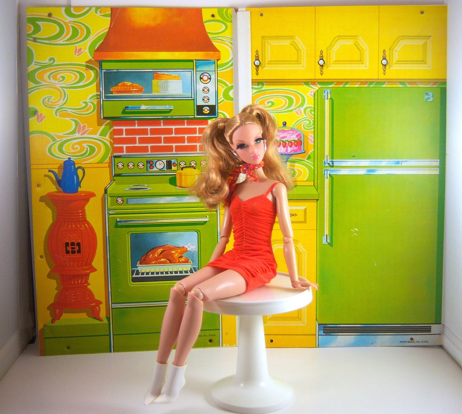 Vintage Barbie 1970s Surprise House Backdrops. A By Partydolly