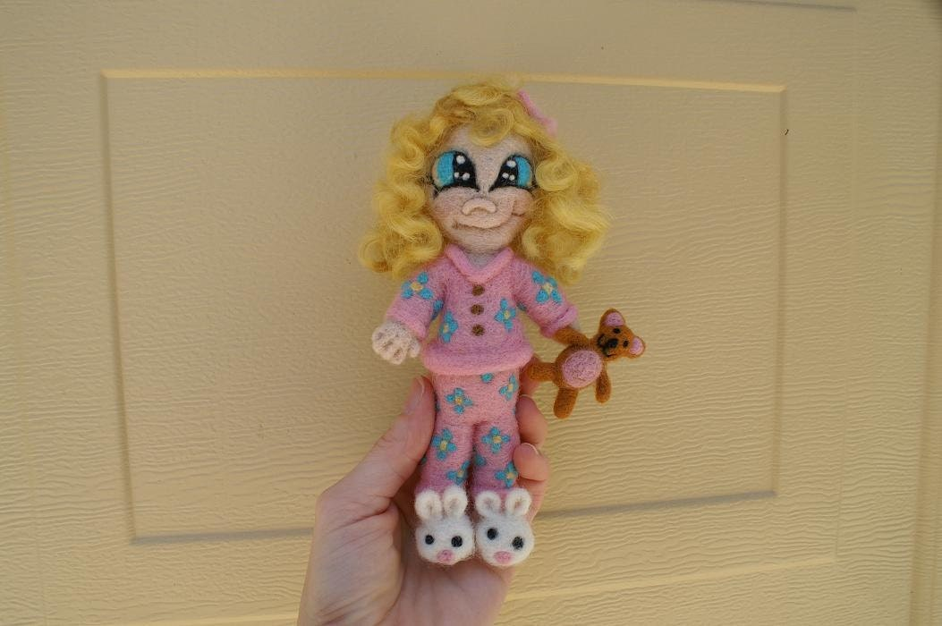 Needle felted OOAK Little Girl Baby Doll